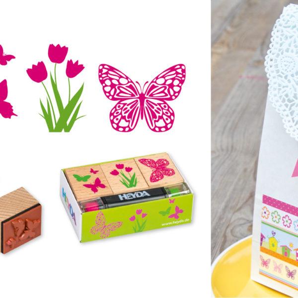 Svatební razítka s motýly a květinou