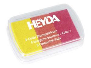 Žlutý, oranžový a červený razítkovací polštářek