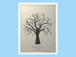 Svatební strom 1 se jmény v bílém rámu 43 x 53 cm