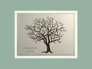 Svatební strom 3 se jmény v bílém rámu 53 x 43 cm