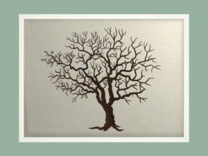 Svatební strom 3 v bílém rámu 73 x 53 cm
