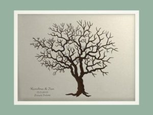 Svatební strom 3 se jmény v bílém rámu 73 x 53 cm