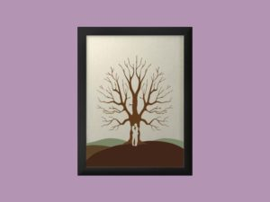 Svatební strom 5 v rámu 33 x 43 cm