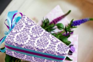 Krabičky na výslužky - fialové vintage