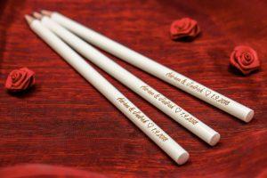 Svatební tužky se jmény - máčené v laku